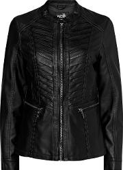Tall Black Faux Leather Stitch Jacket