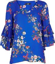 Tall Blue Floral Flute Sleeve Blouse
