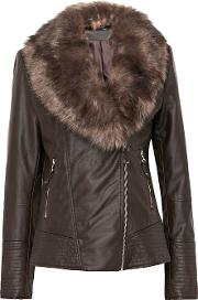Tall Chocolate Faux Leather Fur Jacket