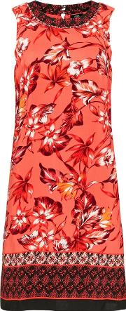 Tall Coral Floral Print Shift Dress