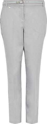 Tall Grey Belted Cigarette Trouser