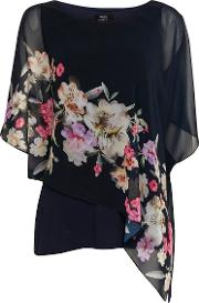 Tall Navy Blue Floral Print Overlay Top