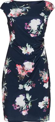 Tall Navy Floral Print Ruched Shift Dress