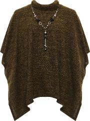 Aaliyah Polo Neck Knitted Necklace Poncho