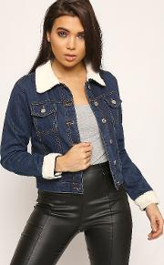 Adeline Borg Fleece Lined Cropped Denim Jacket