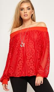 Adriana Lace Lined Necklace Chiffon Top