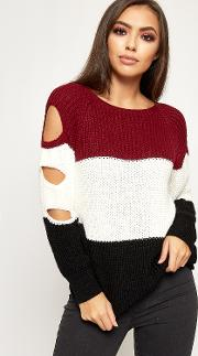 Alexis Striped Cable Knitted Cut Out Sleeve Jumper