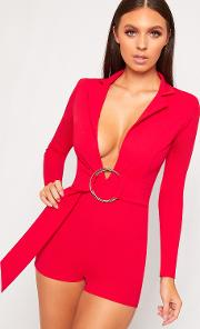 Allyson Long Sleeve Ring Belted Plunge Playsuit