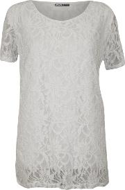 Alyson Lined Floral Lace Tunic Top