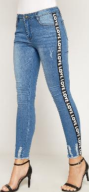 Amelia Love Accent Frayed Ankle Skinny Jeans