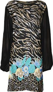 Animal Print Chiffon Sleeve Top