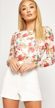 Anna Floral Print Mesh Long Sleeve Playsuit