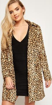 Ariana Faux Leopard Fur Belted Coat