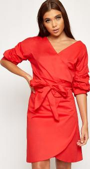 Briana Plunge V Neck Belted Wrapover Dress