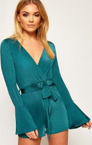 Brianna Wrap Front Bell Sleeve Playsuit