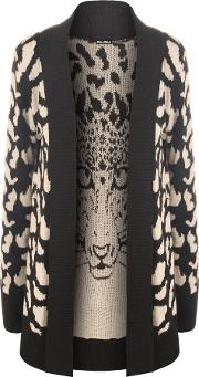 Caitlin Leopard Design Knitted Cardigan