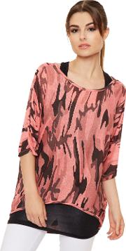 Camouflage Batwing Top,