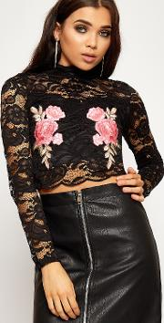 Carolyn Floral Embroidered Long Sleeve Lace Crop Top