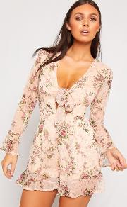 Chloe Chiffon Long Sleeve Floral Tied Front Playsuit
