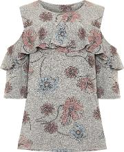 Cold Shoulder Floral Knitted Frill Top