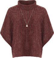 Cowl Neck Knitted Poncho