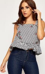Dawn Floral Embroidered Strappy Gingham Vest