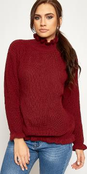 Eliana Cable Knitted Ruffle Jumper