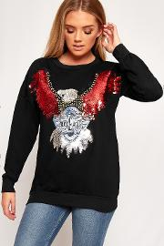 Emma Sequin Embellished Rock Eagle Sweatshirt