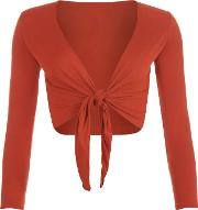 Emmie Jersey Basic Long Sleeve Tie Front Crop Top