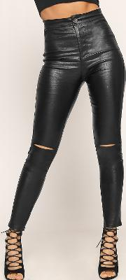 Faux Leather High Waist Ripped Skinny Jeans,
