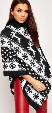 Festive Reindeer Knitted Christmas Poncho,