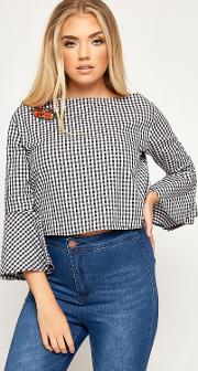 Floral Embroidered Gingham Bell Sleeve Top