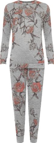 Floral Knitted Long Sleeve Loungewear Set