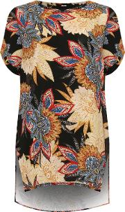 Floral Paisley Print Baggy Batwing Top