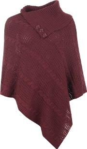 Gena Cable Knit Button Poncho