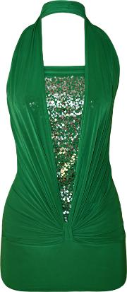 Hilary Sequin Detail Halter Neck Top