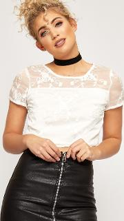 Jana Floral Embroidered Mesh Lined Crop Top