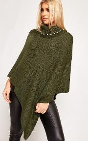 Joyce Cowl Neck Pearl Embellished Knitted Poncho