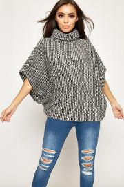Julia Cowl Neck Knitted Necklace Poncho