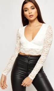Julia Floral Lace Long Sleeve Wrap Crop Top