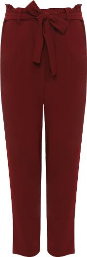 Kylie Frill Waistband Belted Crepe Trousers