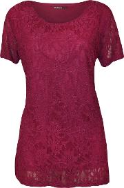 Lined Floral Lace Tunic Top