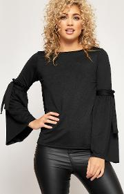 Long Bell Sleeve Round Neck Crepe Top