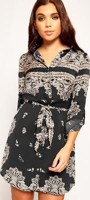 Long Sleeve Paisley Mini Shirt Dress,