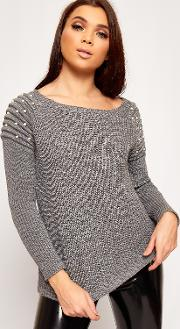 Lorie Pearl Embellished Ribbed Knitted Jumper