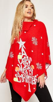 Lucy Festive Tree Knitted Christmas Poncho