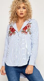 Mandy Floral Embroidered Striped Button Shirt