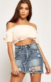 Melanie Bardot Bow Sleeve Frill Crop Top