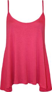 New Womens Plain Strappy Swing Cami Ladies Sleeveless Stretch Vest Top 8 14