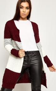 Olivia Cable Knitted Striped Open Cardigan